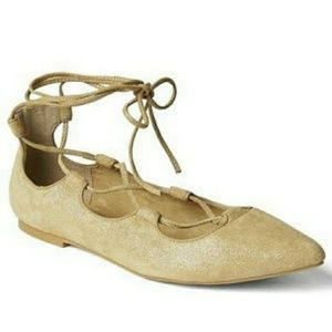 Gap Lace Up Pointed Toe Ballet Flats